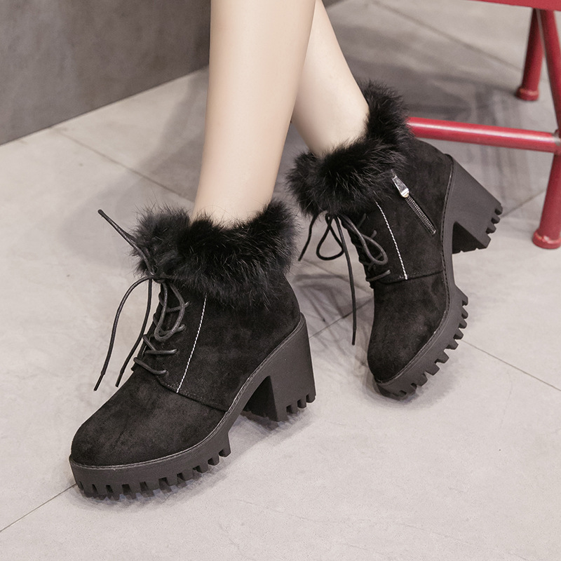 2018 new lace up Martin women's boots winter rabbit fur waterproof platform with Chelsea boots fur winter boots women