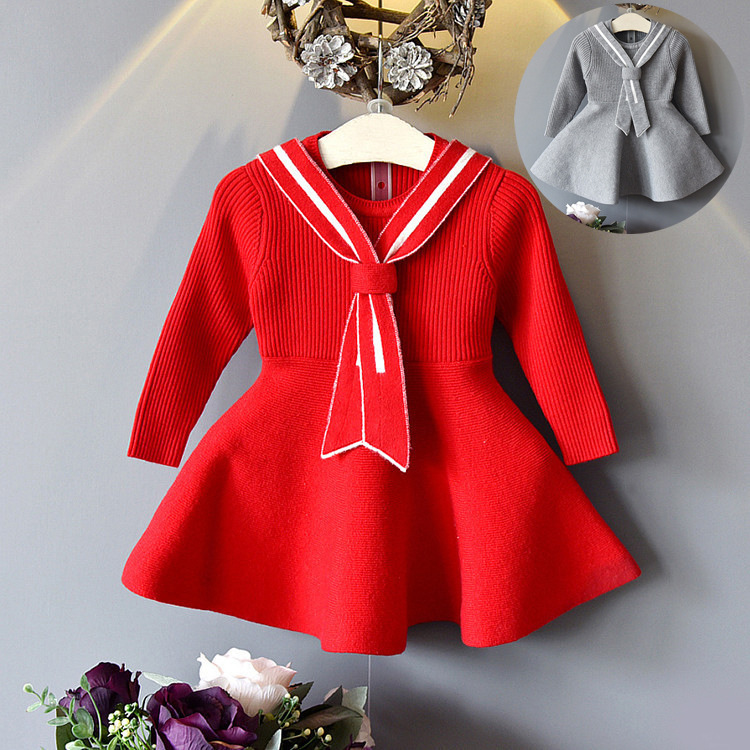 Фото 2018 spring and autumn new version of the core cotton long-sleeved knit sweater dresses for girl casual wear red gray 2T-6T
