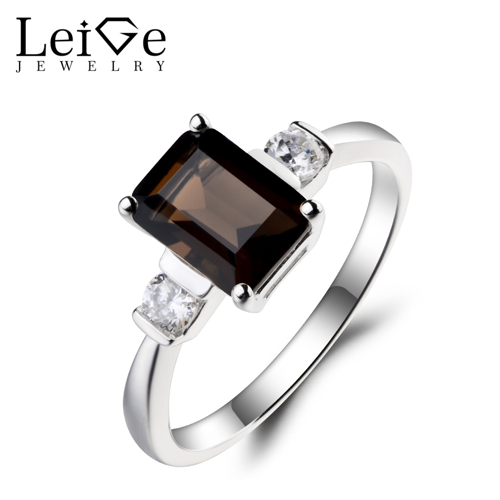 Leige Jewelry Natural Smoky Quartz Ring Cocktail Party Ring Emerald Cut Brown Gemstone Solid 925 Sterling Silver Gifts for WomenLeige Jewelry Natural Smoky Quartz Ring Cocktail Party Ring Emerald Cut Brown Gemstone Solid 925 Sterling Silver Gifts for Women
