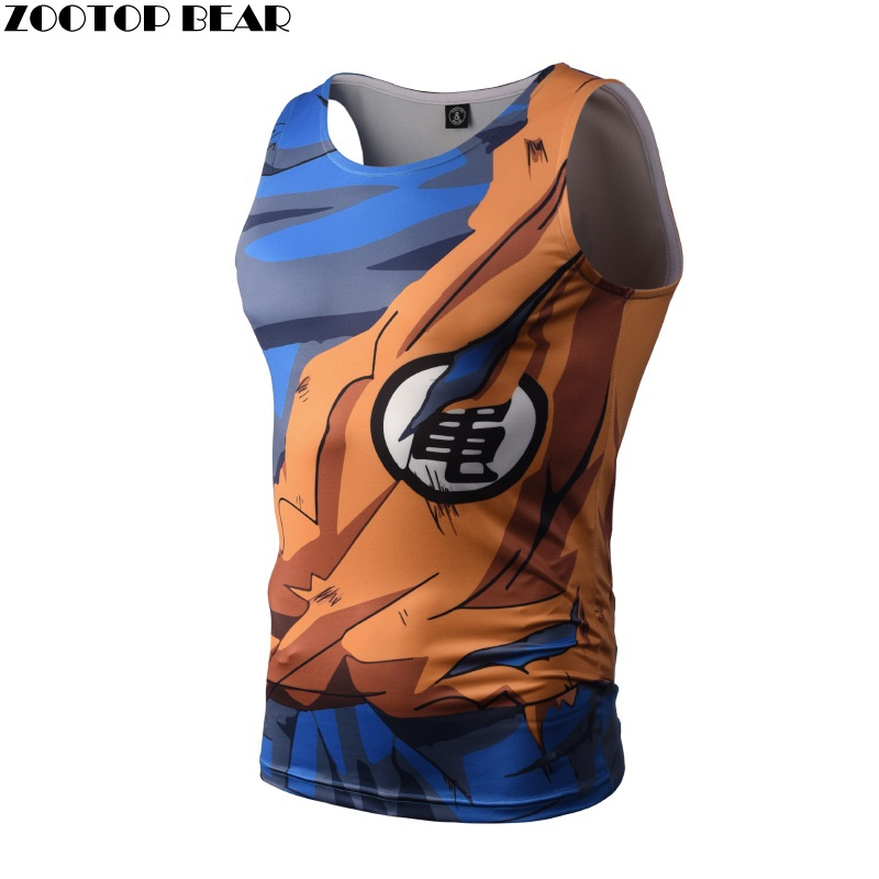 Bodybuilding Dragon Ball Camisetas de tirantes hombres anime Tops Naruto Vest fitness Tops Camisetas Tees Super Saiyan camisetas zootop Bear