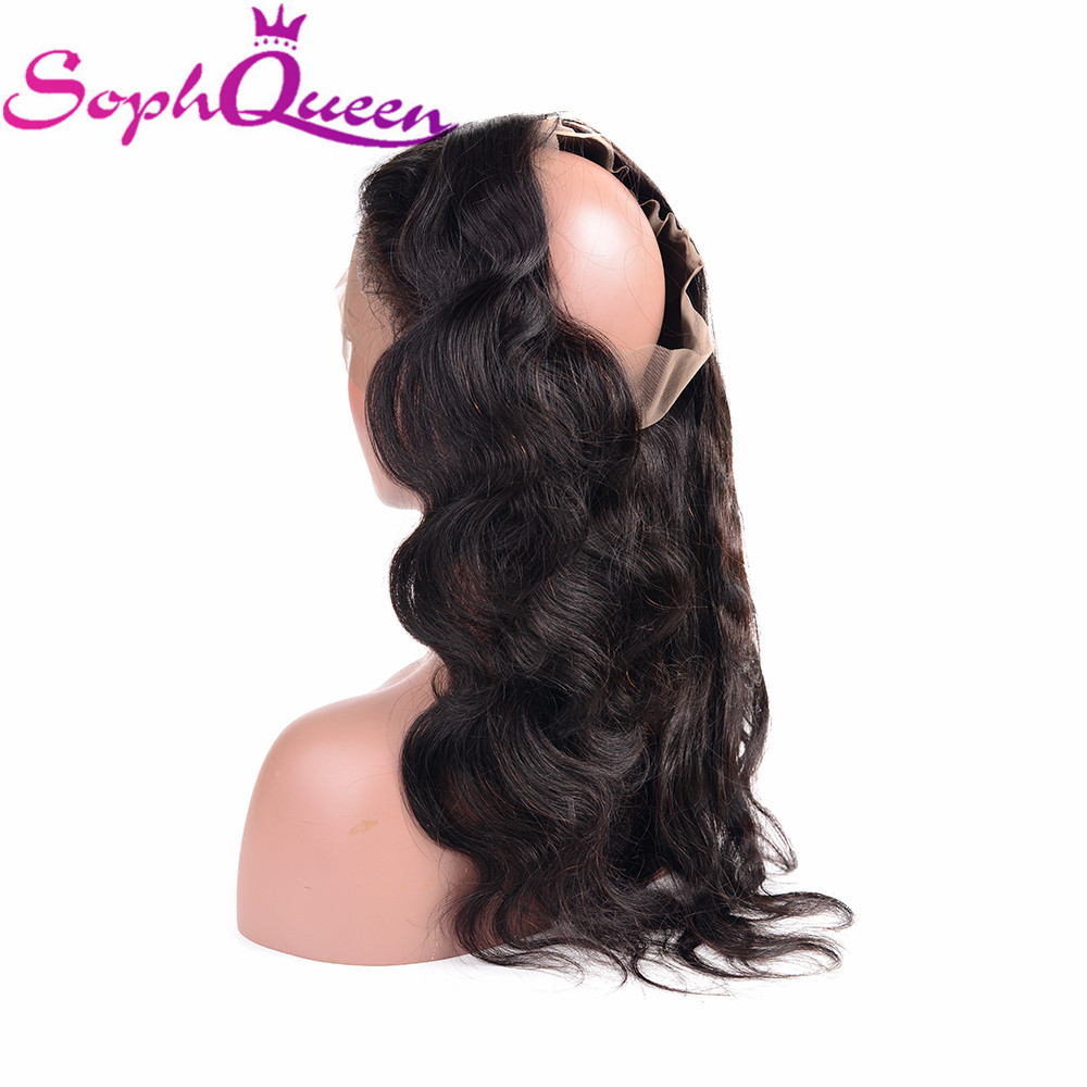 Soph Queen 360 Lace Frontal Closure Body Wave Remy Hair 100% Human Hair Indian Lace Closure Free Part Natural Color Hand Tied
