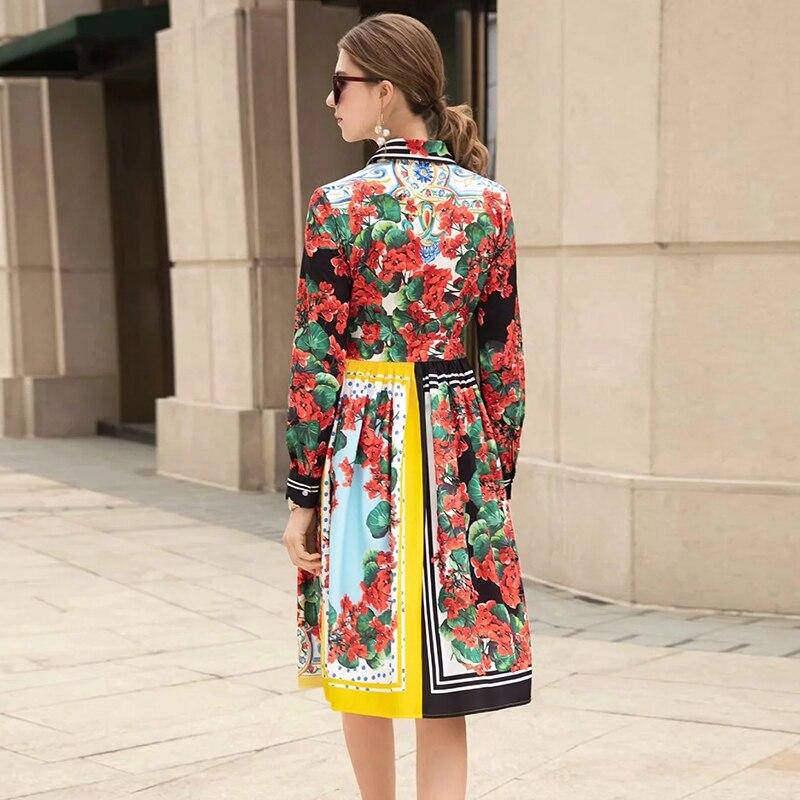 Genou Robe Décontracté Piste Fleurs D'été Imprimer De Femmes Robes Pour longueur Mode 8A1AZf