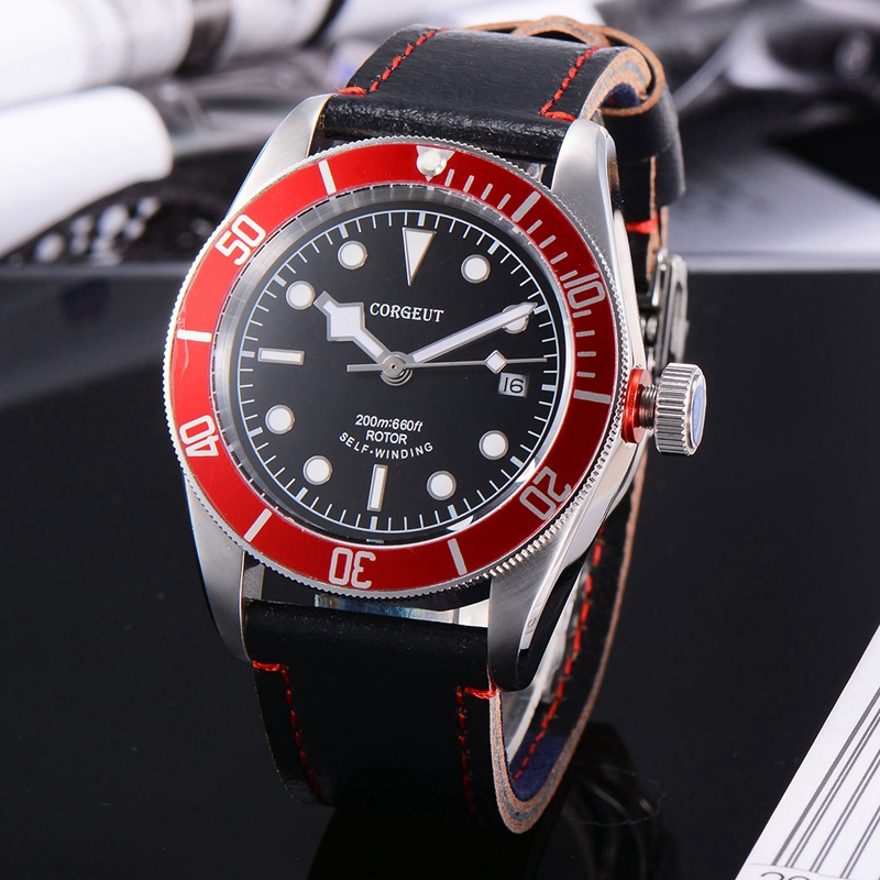 Corgeut 41mm Mens Automatic Watch, Black Dial White Marks Red Rotatable Bezel Sapphire Glass Miyota 8215 Movement CA2010RWCorgeut 41mm Mens Automatic Watch, Black Dial White Marks Red Rotatable Bezel Sapphire Glass Miyota 8215 Movement CA2010RW