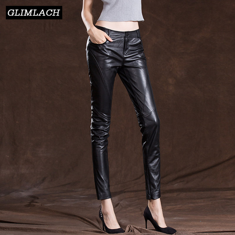Plus Size Women Real Leather Fleece Lining Pencil Pant Office Ladies Luxury Sheepskin Genuine Leather Female Motorcycle Trousers