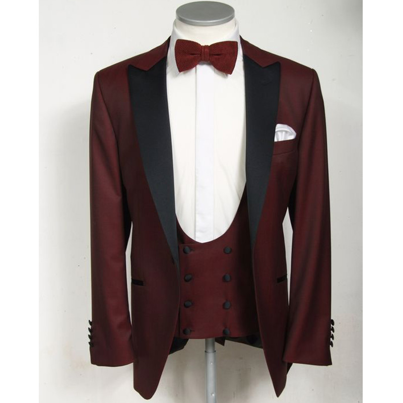 Slim Fit Gentleman Men Suits For Prom Party Stage Clothes Burgundy Wedding Groom Tuxedos 3 Piece Suit Jacket Pants Vest