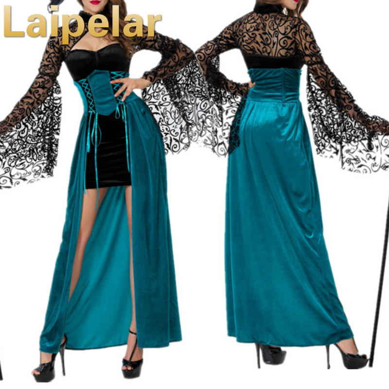 New Sexy Witch Costume Deluxe Adult Womens Magic Moment Evil Halloween Fancy Dress Laipelar Hollween Party Dresses