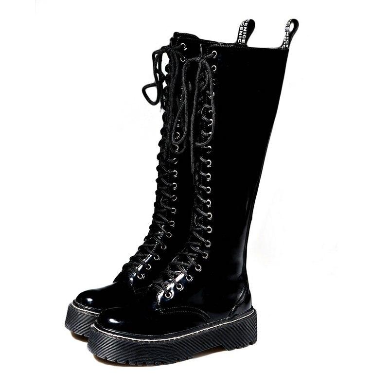 OLOMM 2019 płaskie Martin buty kobiece brytyjski wiatr gruby z długie buty dzieci wysokie buty dzieci proste rycerz LL 132 w Buty do połowy łydki od Buty na  Grupa 1