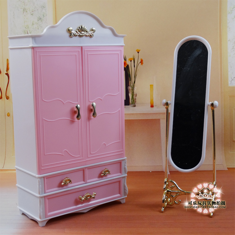Hot selling baby toys house accessories doll mini furniture sets wardrobe+moirror+hanger for barbie doll for kurhn doll