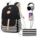 Frauen rucksack USB lade laptop rucksack für teenager mädchen schule rucksack tasche Mode streifen Weibliche Reise Rucksäcke-in Rucksäcke aus Gepäck & Taschen bei