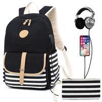 Mulheres mochila de carregamento usb portátil mochila para adolescentes escola mochila saco moda listra feminino mochilas de viagem|Mochilas| |  -