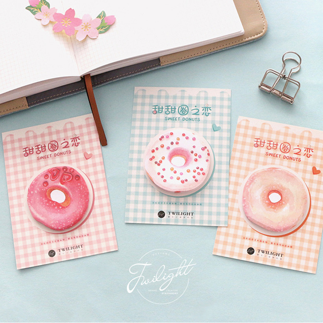 1 х Питание пончики закуски memo pad cat бумага наклейки записку пост-это каваи papeleria канцелярские школьные принадлежности