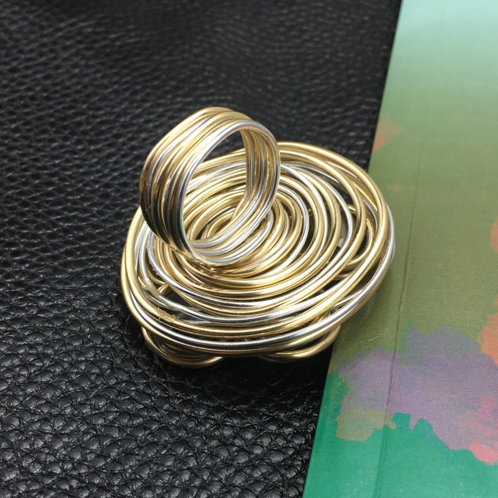 MANILAI Helical Wound Crystal Big Rings For Women Fashion Jewelry Gold Color Wire Beads Finger Statement Ring Charm Accessories