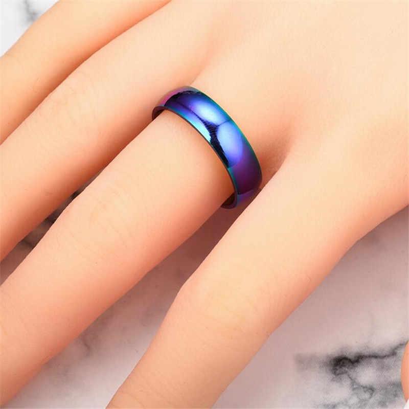 Ancho 6mm pulido opaco en el interior liso de moda de acero inoxidable arcoíris anillos para hombres joyería anillo mujeres regalos buena calidad fj837