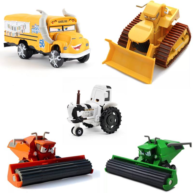 Disney Pixar Cars 3 Cars 2 Miss Fritter Bulldozer Frank Harvester Tractor Metal Diecast Toy Car Gift For Kids