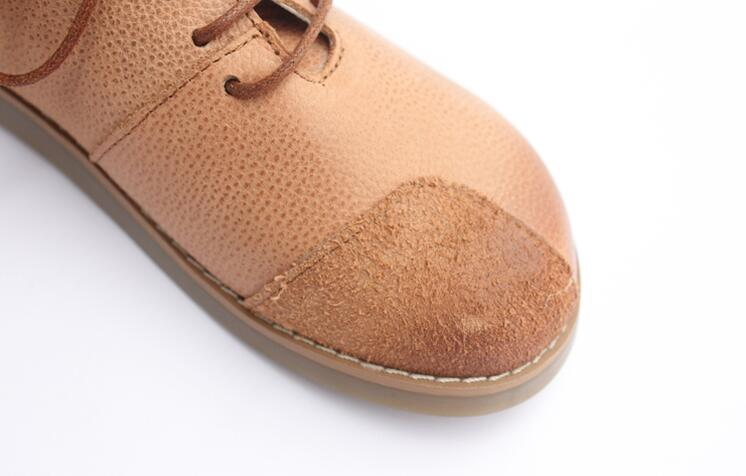 New Spring,Head layer cowhide pure handmade shoes, litchistria hand brush color art female leather shoes ,Coffee&Khaki