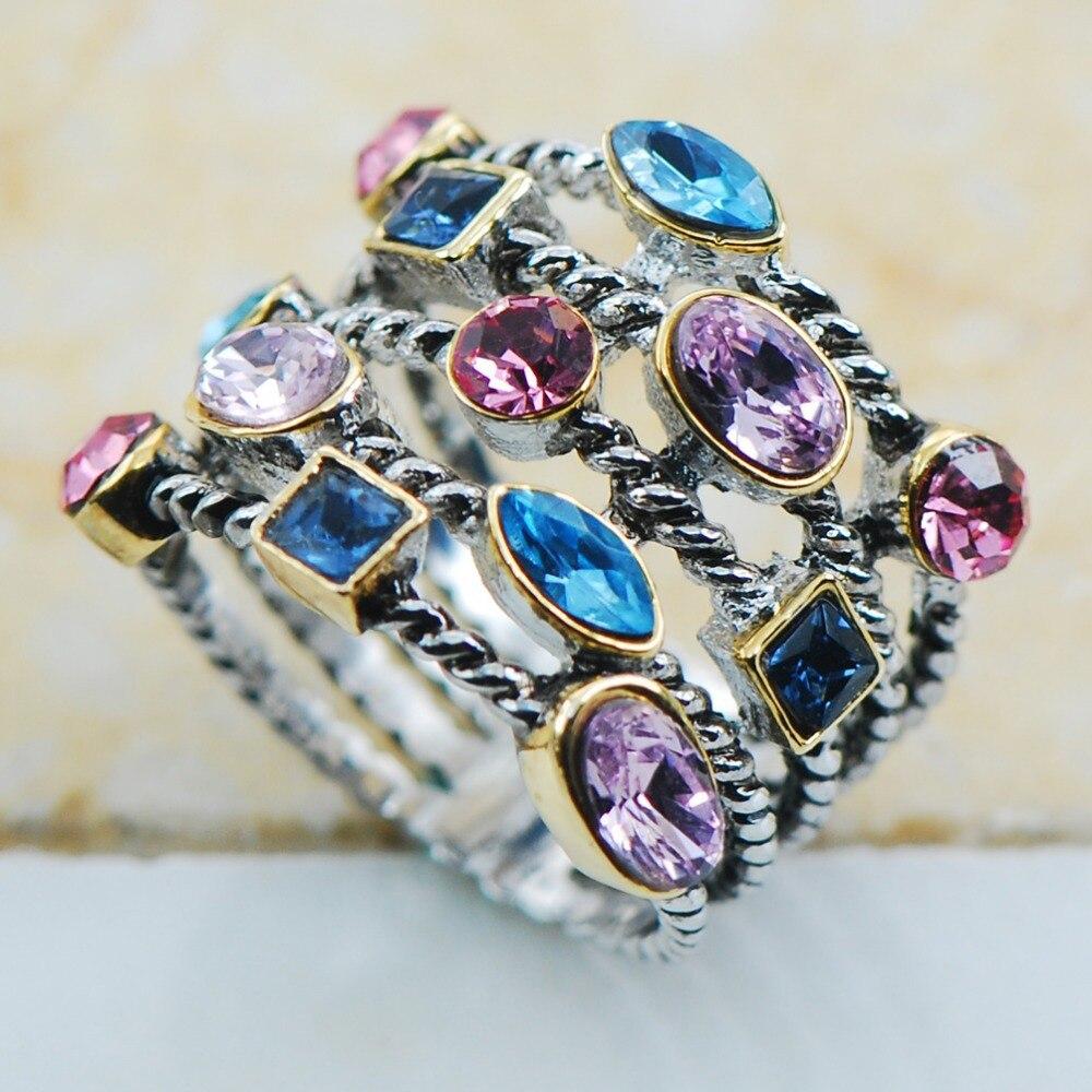 BlueΠnk&Purple Crystal Zircon 925 Sterling Silver Top Quality Fancy Jewelry wedding Ring Size 8 9 10 11 12 F1135