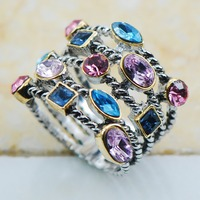 Blue Topaz Pink Sapphire Amethyst 925 Sterling Silver Top Quality Fancy Jewelry Wedding Ring Size 8