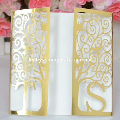 50pcs Customized Paper Lastest Wedding Card Designs, Bright Gold Wedding  Invitation Card With Initials(
