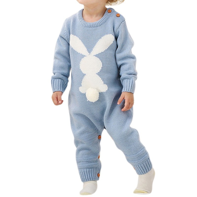 Baby   Rompers   3D Rabbit Knitted Toddler Boys Jumpsuits Long Sleeve Newborn Infant Bunny Onesie Outfits Button Cover Costume