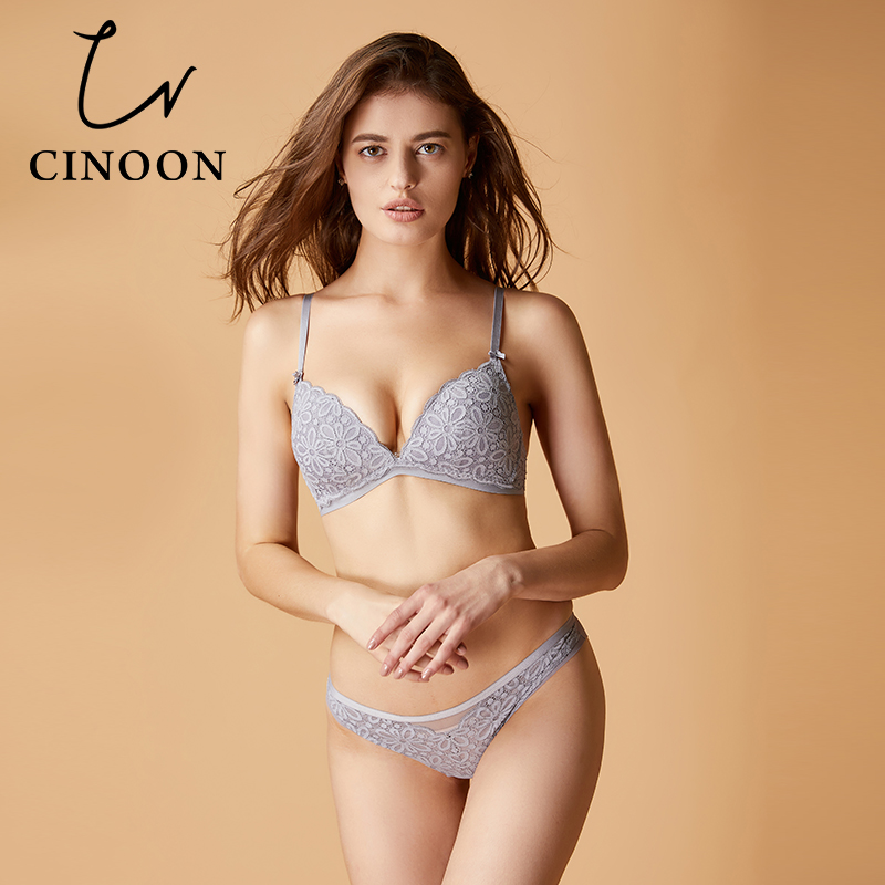 CINOON Sexy lace   bra     set   cotton brassiere Triangle cup lingerie Comfortable underwear solid color push up bralette for women