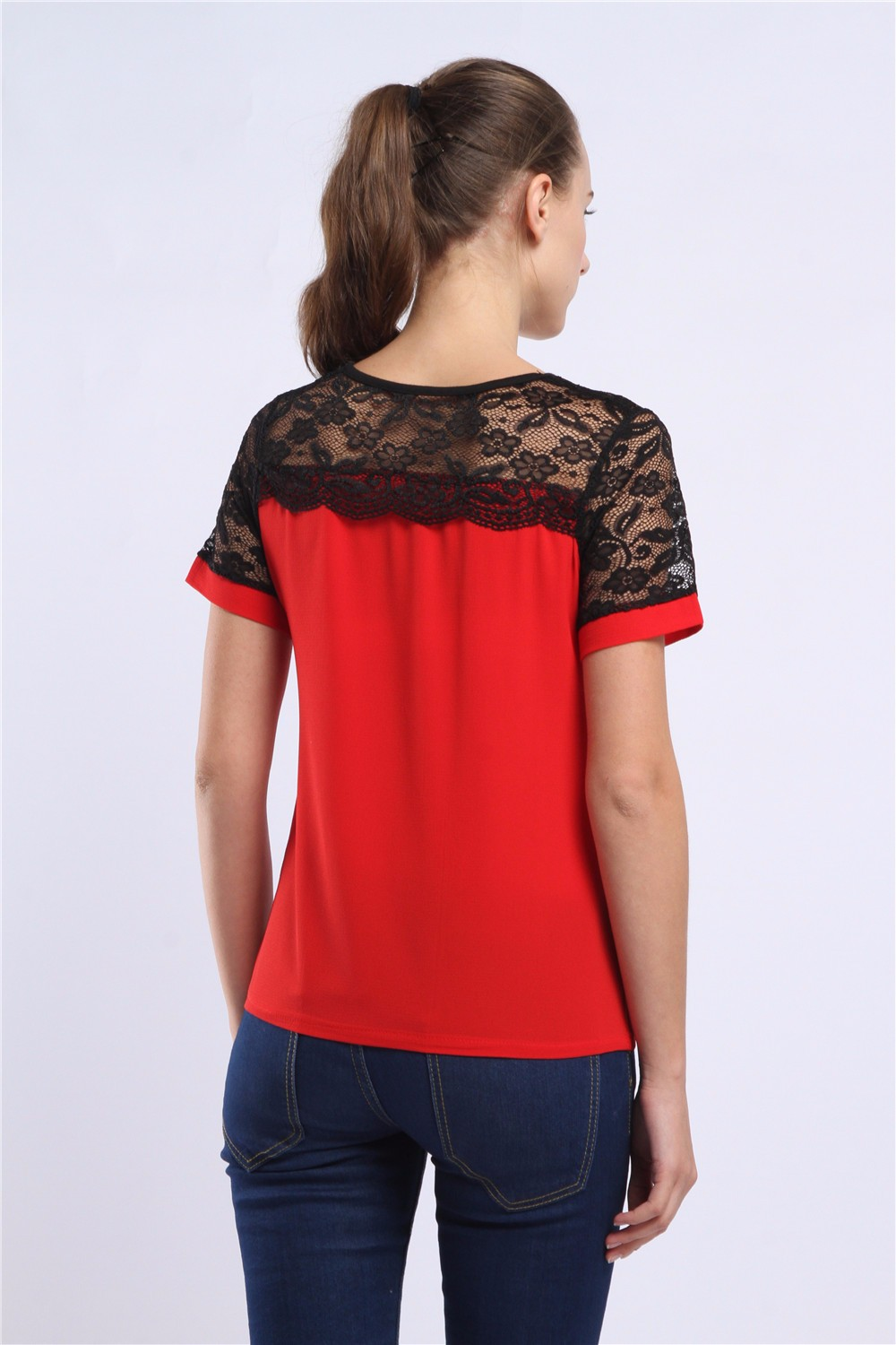 Women Blouses Summer Lace Chiffon Blouse Casual Blusa Feminina Tops Fashion Chemise Femme Shirts Plus Size 5XL Red White Pink 34