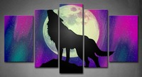 Framed Wall Art Picture Wolf Rock Northern Lights Canvas Print Animal Modern Posters With Wooden Frames For Living Room