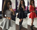 2016 Autumn Summer Dress Vintage Sexy Casual Fold Sleeve Slim Gray Red Black Dress Women Bodycon Dress Party Dresses Vestidos