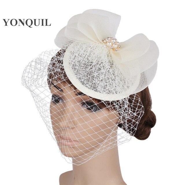 De moda velos de novia sombrero fedora con boda tocado con arco partido  chapeu tocados evento 7ea06bba4954