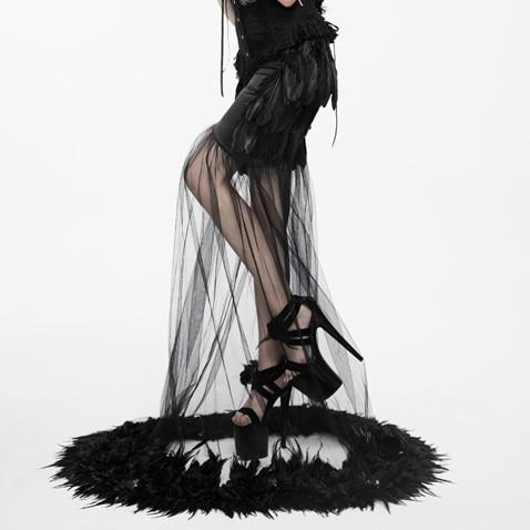 Jupes Travers Voir Noir Black Dame Femmes à Gothique Les Partie Trompette Longueur Eva parole Plumes Longues x0qvYW77fw