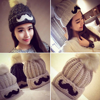 2016 ventas calientes del invierno de la mujer sombrero Beanie Hat para las mujeres moda sombrero hecho punto caliente patrón barba gorros casquillo hembra envío libre