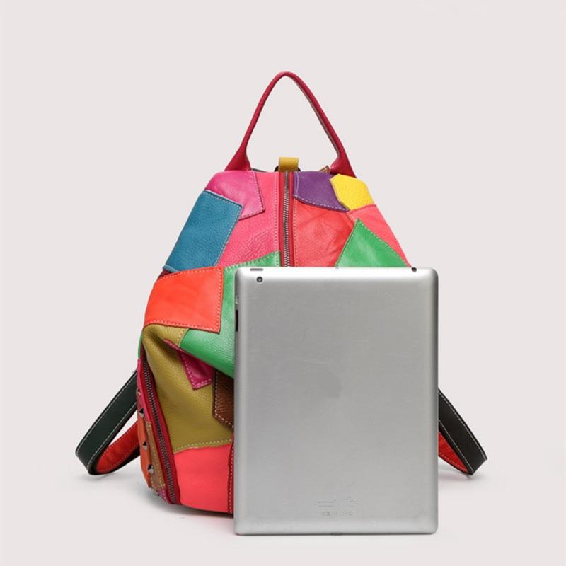 Image 4 - Women Genuine Leather Backpack With Soft Handle Designer High  Quality Sheep Skin Patchwork Rivet Backpacks For Travel 2colorsbackpack  withgenuine leather backpackdesigner leather backpack