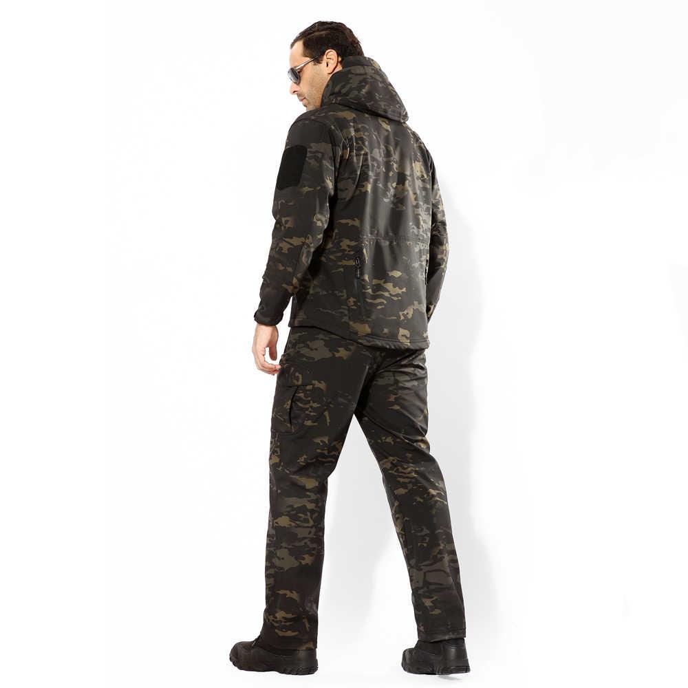 Militer Tad V5.0 Kamuflase Hiu Kulit Soft Shell Taktis Pakaian Musim Dingin Tahan Air Luar Ruangan Bulu Tempur Pria Jaket + Celana 4XL