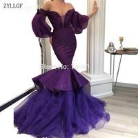 ZYLLGF Couture Kaftan Purple Evening Party Dresses Robe De Soiree Dubai Formal Pageant Gowns 2019 Arabic Long Prom Dress MC80