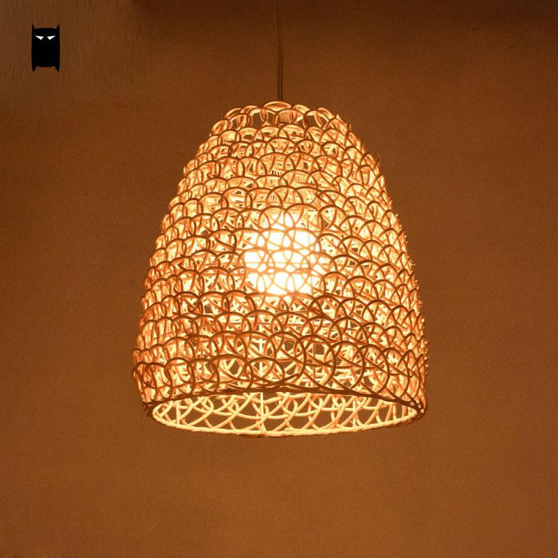 Natural Color Coffee Wicker Rattan Shade Pendant Light Fixture Asian Vintage Retro Hanging Ceiling Lamp Restaurant Cafe Hallway vintage loft pendant ceiling light fixture retro hanging lamp shade bulb not included