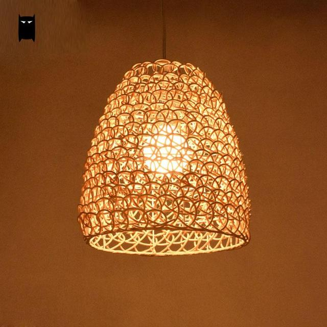 shade pendant lighting. natural color coffee wicker rattan shade pendant light fixture asian vintage retro hanging ceiling lamp restaurant lighting w