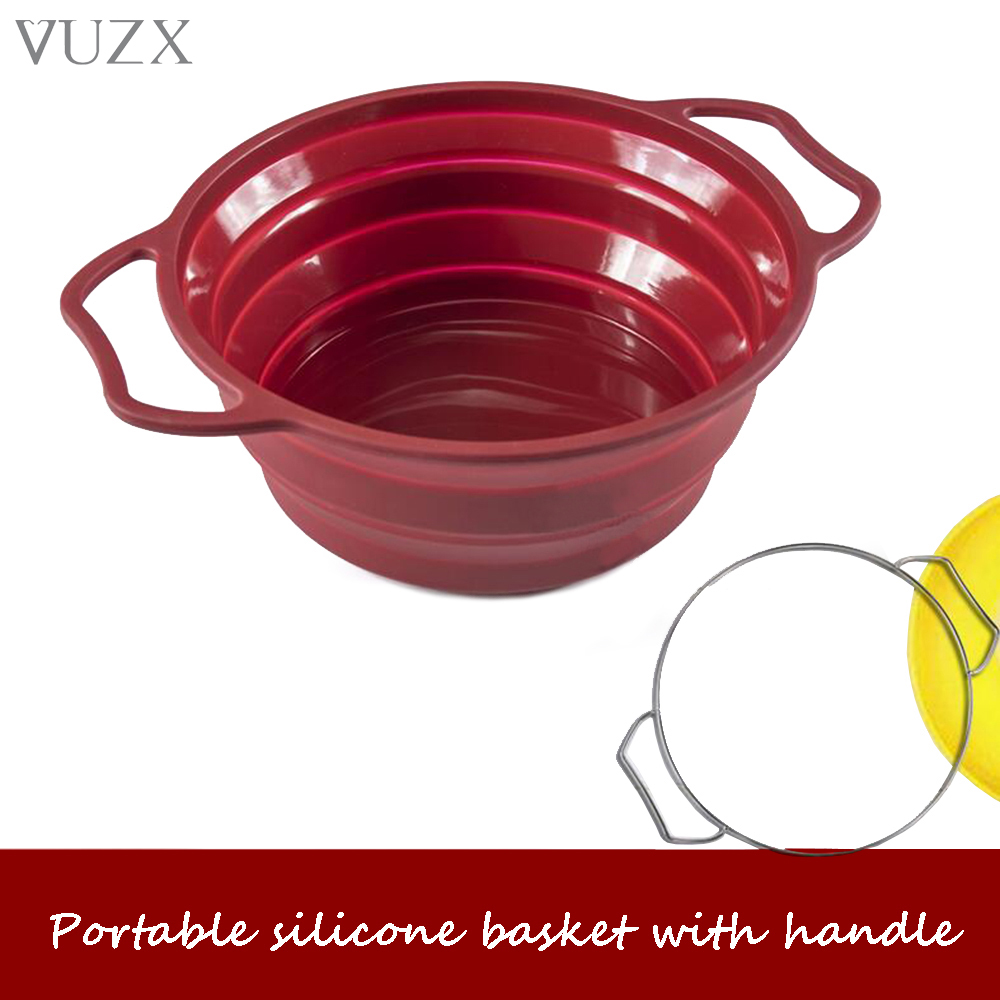With Handle Premium Large Silicone Foldable Kitchen Fruit Vegetables Food Storage Bowl Portable Folding Basket For Camping 5L