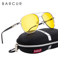 BARCUR Night Vision Sunglasses Mens Night Driving Glasses Polarized Anti glare Goggle Oculos de sol masculino