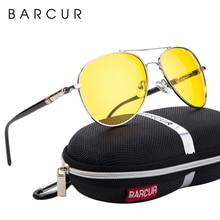BARCUR Night Vision Sunglasses Mens Night Driving Glasses Polarized Anti-glare Goggle Oculos de sol masculino