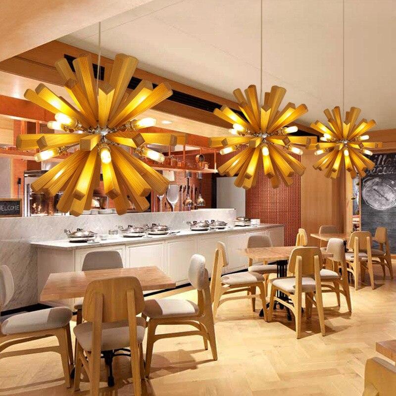 Wohnzimmer Restaurant | Sind Dekoration Holz Lowenzahn Pendelleuchte Kreative Lampen Fur