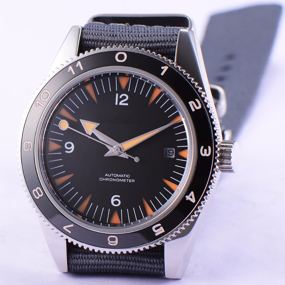 41mm debert black sterile dial sapphire glass miyota Automatic mens Watch D8 цена и фото