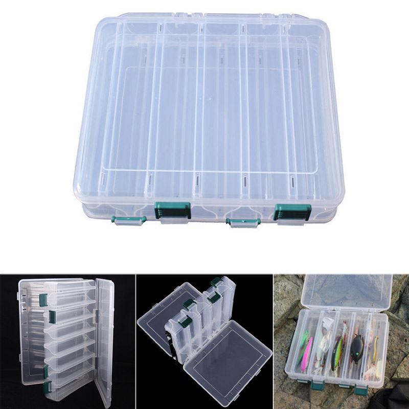 NEW 10 Compartment Double Layers Fishing Lures Box Plastic Tackle Hooks Baits Storage Case Fishing Tackle Boxes     - title=