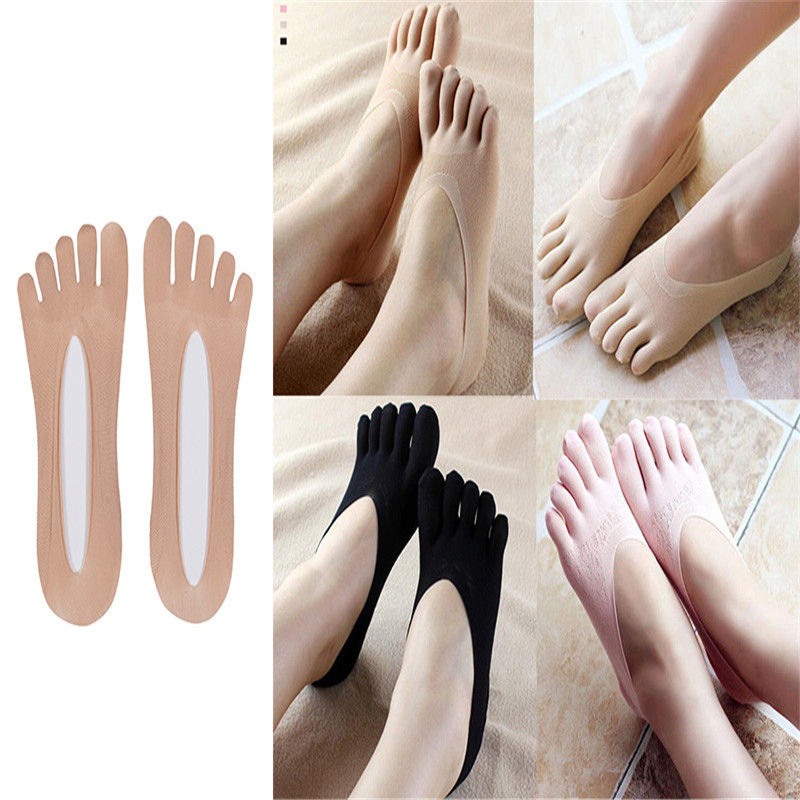 Women Solid Seamless Low Cut Crew Ankle Five Finger Toe Boat Socks Hosiery 1Pair