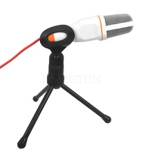 SF-666 Stereo Sound Studio Mics Microphones Condenser Microphone Karaoke Microfone with Stand Holder Clip for PC Laptop Notebook