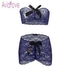 Avidlove Sexy Underwear Lingerie Set Women Wrap Strapless Top with Ruched Mini Skirt Erotic Hot Sex