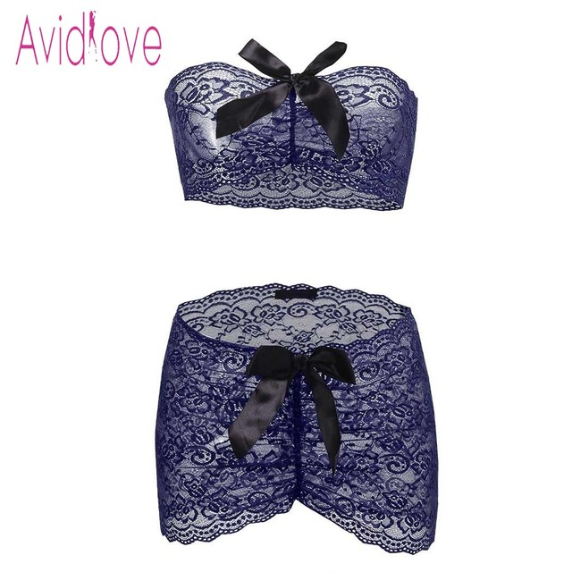 Avidlove Sexy Underwear Lingerie Set Women Wrap Strapless Top with Ruched Mini Skirt Erotic Hot Sex Costume Porn Exotic Apparel