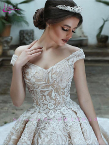 Image 2 - Waulizane Luxury V Neckline Of Champagne Colro Ball Gown Wedding Dress Off The Shoulder Bridal Dress