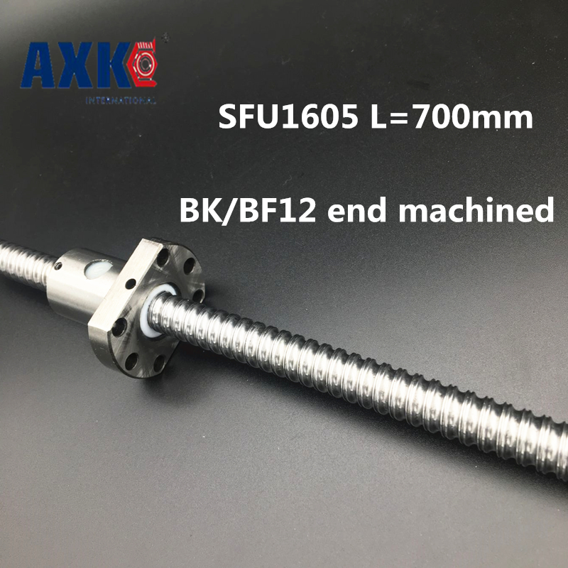 купить 2018 Axk Ballscrew 1605 Sfu1605 L=700mm Rolled Ball Screw With Single Ballnut For Cnc Parts Bk/bf12 Standard End Machined