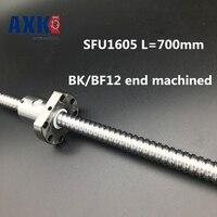 2018 Axk Ballscrew 1605 Sfu1605 L=700mm Rolled Ball Screw With Single Ballnut For Cnc Parts Bk/bf12 Standard End Machined