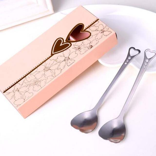 Por Sweet Lovely 1 Pair Love Pattern Tea Coffee Spoon Teaspoon Bridal Wedding Party Favor Lover