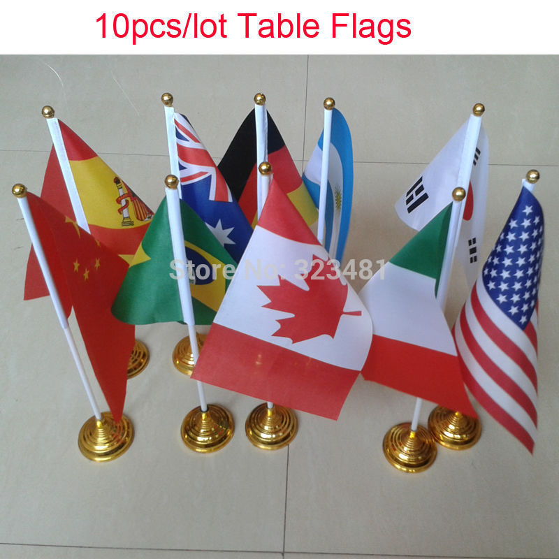 10pcs/lot Desk Table National Flags For Office House Party Hone Deco14*21cm  Small Country Flags (leave Massage Countries)